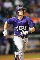 TCU Horned Frogs shortstop Keaton Jones #26 runs to first base during the NCAA baseball game against the Rice Owls on March 1, 2014 during the Houston College Classic at Minute Maid Park in Houston, Texas. Rice defeated TCU 1-0. (Andrew Woolley/Four Seam Images)