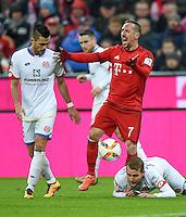 FUSSBALL  1. BUNDESLIGA  SAISON 2015/2016  24. SPIELTAG FC Bayern Muenchen - 1. FSV Mainz 05       02.03.2016 Franck Ribery (re, FC Bayern Muenchen) aergert sich ueber eine Schiedsrichter Entscheidung