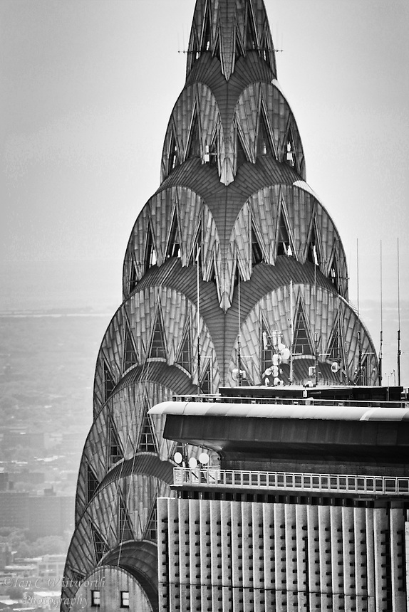 Back and white view of the roof of the Chrysler Building from the Top of the Rock