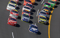 Apr 29, 2007; Talladega, AL, USA; Nascar Nextel Cup Series drivers Dale Earnhardt Jr (8) and Kyle Busch (2) lead the field during the Aarons 499 at Talladega Superspeedway. Mandatory Credit: Mark J. Rebilas