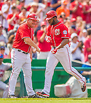 27 July 2013: Washington Nationals outfielder Denard Span gets a handshake from third base coach Trent Jewett while rounding the bases after hitting a solo home run against the New York Mets at Nationals Park in Washington, DC. The Nationals defeated the Mets 4-1. Mandatory Credit: Ed Wolfstein Photo *** RAW (NEF) Image File Available ***