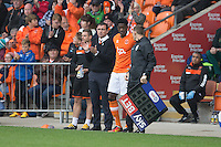 Armand Gnanduillet of Blackpool comes on to make his debut during the Sky Bet League 2 match between Blackpool and Wycombe Wanderers at Bloomfield Road, Blackpool, England on 20 August 2016. Photo by James Williamson / PRiME Media Images.
