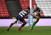 23rd March 2018, Ashton Gate, Bristol, England; RFU Rugby Championship, Bristol versus Yorkshire Carnegie; Callum Irvine of Yorkshire Carnegie makes a break around the tackle from Tusi Pisi of Bristol
