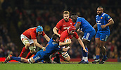 17th March 2018, Principality Stadium, Cardiff, Wales; NatWest Six Nations rugby, Wales versus France; Cory Hill of Wales is tackled by Paul Gabrillagues of France