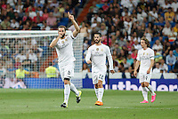 Real Madrid´s Nacho, Isco and Modric during Santiago Bernabeu Trophy match at Santiago Bernabeu stadium in Madrid, Spain. August 18, 2015. (ALTERPHOTOS/Victor Blanco)