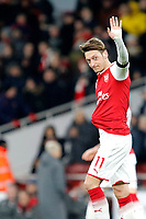 Mesut Ozil of Arsenal salutes the fans during the Premier League match between Arsenal and Huddersfield Town at the Emirates Stadium, London, England on 29 November 2017. Photo by Carlton Myrie / PRiME Media Images.