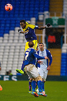 Saturday 25 January 2014<br /> Pictured: Roland Lamah  jumps high in the air <br /> Re: Birmingham City v Swansea City FA Cup fourth round match at St. Andrew's Birimingham