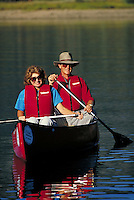 Retired Couple (MR451 & 452) canoeing on Dillon Reservoir, Summit County, CO. (MR451 & 452). Summit County, Colorado.