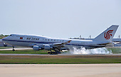 A plane carrying Chinese President Hu Jintao arrives at Andrews Air Force Base, Maryland, April 12, 2010. Jintao is attending the Nuclear Security Summit..Credit: Kevin Dietsch / Pool via CNP