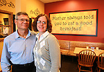 042412tvowners.Owners Gary and Cathy Mueller inside The Egg & I restaurant in the Regency Park shopping area of O'Fallon.  The eatery is open for breakfast and lunch..BND/TIM VIZER   with Sue story