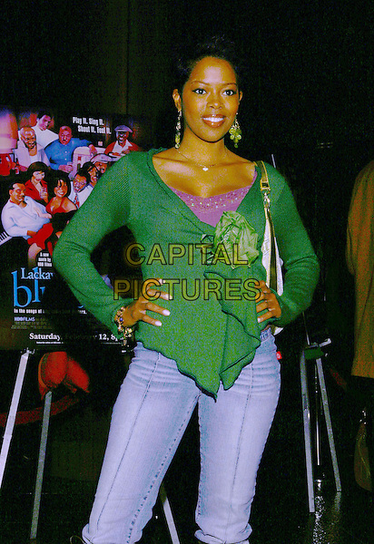 MALINDA WILLIAMS.Lackawanna Blues - HBO Screening held at The Directors Guild of America. West Holllywood, California..Photo Credit: Zach Lipp/AdMedia.February 3rd, 2005.half length, green wrap flowing top corsage, hands on hips.www.capitalpictures.com.sales@capitalpictures.com.© Capital Pictures.