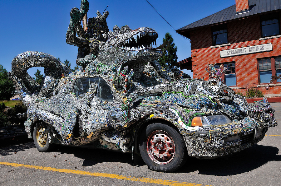 Art Car covered in mosaics, Steamboat Springs, Colorado