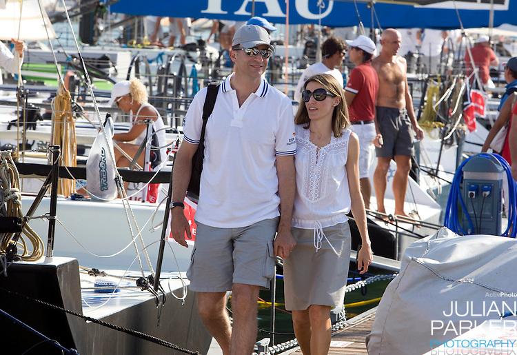 Crown Prince Felipe & Crown Princess Letizia of Spain, at the Royal Yacht Club in  Palma, Mallorca. On the first day of The Copa Del Rey.sailing regatta.
