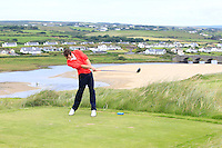 William Russell (Clandeboye) on the 9th tee during Round 3 of The South of Ireland in Lahinch Golf Club on Monday 28th July 2014.<br /> Picture:  Thos Caffrey / www.golffile.ie