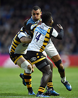 Joe Marchant of Harlequins takes on the Wasps defence. Aviva Premiership match, between Harlequins and Wasps on April 28, 2017 at the Twickenham Stoop in London, England. Photo by: Patrick Khachfe / JMP