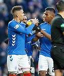 02.02.2019 Rangers v St Mirren: Alfredo Morelos tries to get the ball from penalty taker James Tavernier before it is taken.