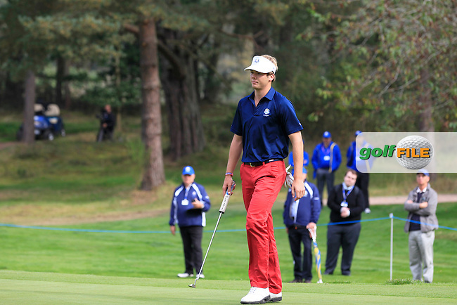 Sam Burns (USA) on the 1st hole of the Mixed Fourballs during the 2014 JUNIOR RYDER CUP at the Blairgowrie Golf Club, Perthshire, Scotland. <br /> Picture:  Thos Caffrey / www.golffile.ie
