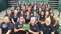 Photo Submitted The McDonald County High School Marching Band won 1st Place for Medium School at the MSSU Homecoming Parade in Joplin on Saturday, Oct. 5, under the direction of Band Director Joe Wilhelm. Band members pictured with their award starting from top (back, left) Justen Bowers, Canaan Moore, Adrian Nunez, Isaac Stephens, Anabella Woodruff, Chase Lucas, Lee Mathews and Kadence Elliott; (second, left) Camille Holcomb, Ialani Yang, Ivy Patrick, Payton Nalley, Jacob Winkler, Rocio Martinez-Gonzalez, Samantha Brace, Brooke Jensen and Amber Scates; (third, left) Karlesa Alejandro, Larrydan Doyle, Huxley Wardlaw, Erik Gonzalez, Kristopher Wise, Mirian Blancas, Evelyn Duenas and Sophia Jaquez; (fourth, left) Cheyenne Scates, Brittany Mann, William Lambert, Josiah Burk, Britany Akins, Lexi Crosby and John Alejo; (fifth, left) Hailey Morris, Samantha Bogart, Ashleigh Nalley, Daniella Serrano, Aidan Chamberlain, Maria Sanchez, Caitlyn Crosby and Giselle DeLaTorre; (front, left) Nichole Massengill, Elena Jaquez, Director, Joe Wilhelm and Asst. Director Ray Nimmo.