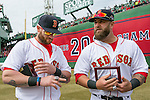 April 4, 2014, Boston, MA:<br /> Boston Red Sox left fielder Jonny Gomes and first baseman Mike Napoli receive their rings during the World Series ring ceremony at the 2014 season home opener at Fenway Park. <br /> (Photo by Billie Weiss/Boston Red Sox)