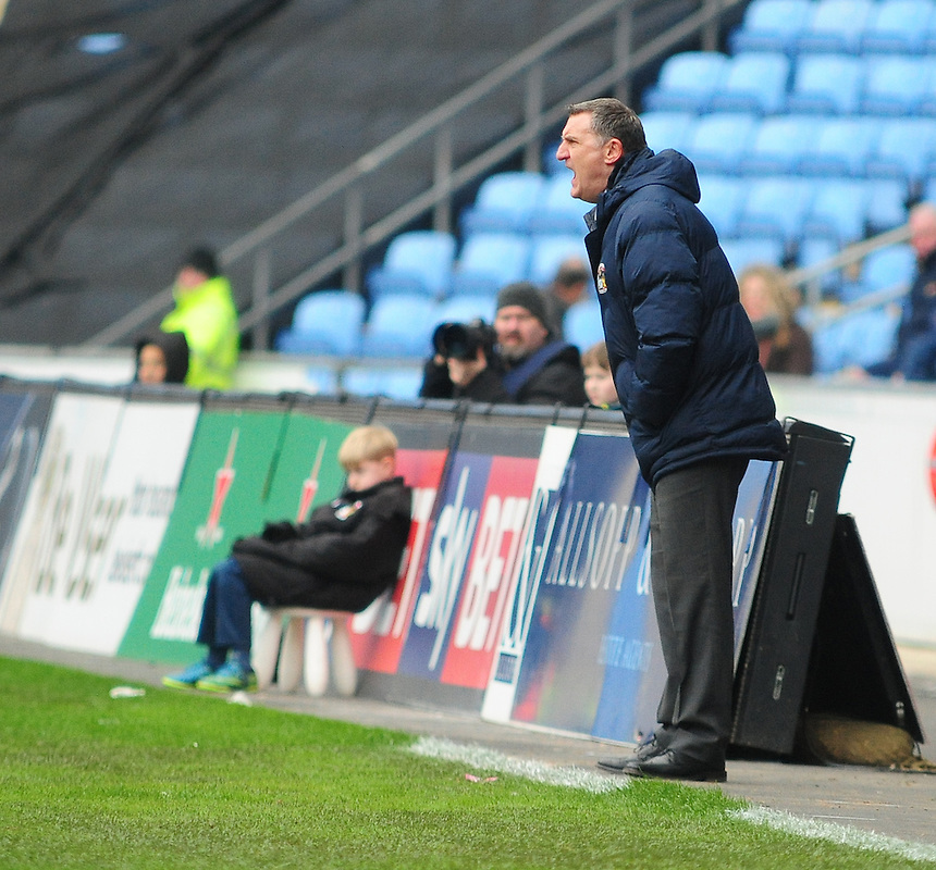 Coventry City manager Tony Mowbray <br /> <br /> Photographer Andrew Vaughan/CameraSport<br /> <br /> Football - The Football League Sky Bet League One - Coventry City v Fleetwood Town - Saturday 27th February 2016 - Ricoh Stadium - Coventry   <br /> <br /> &copy; CameraSport - 43 Linden Ave. Countesthorpe. Leicester. England. LE8 5PG - Tel: +44 (0) 116 277 4147 - admin@camerasport.com - www.camerasport.com