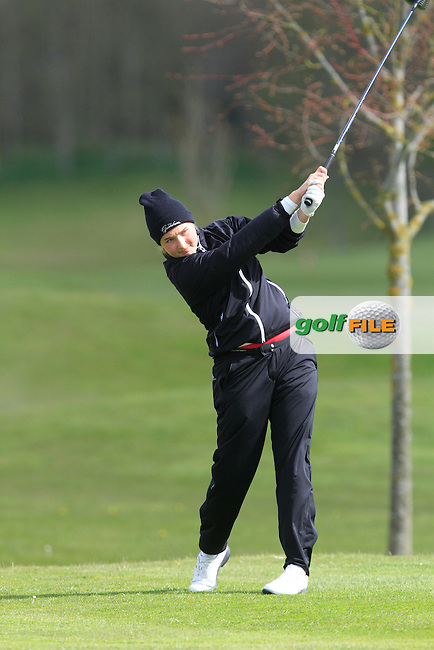 Lilly Koester (GER) on the 13th tee during Round 1 of The Irish Girls Open Strokeplay Championship in Roganstown Golf Club on Saturday 18th April 2015.<br />