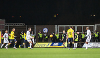 A heavy Police presence look on as the game unfold amongst crowd trouble during the Johnstone's Paint Trophy Southern Final 2nd Leg match between Oxford United and Millwall at the Kassam Stadium, Oxford, England on 2 February 2016. Photo by Andy Rowland / PRiME Media Images.