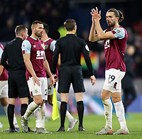 Burnley's Jay Rodriguez looks dejected as he applauds the fans at the final whistle<br /> <br /> Photographer Rich Linley/CameraSport<br /> <br /> The Premier League - Burnley v Crystal Palace - Saturday 30th November 2019 - Turf Moor - Burnley<br /> <br /> World Copyright © 2019 CameraSport. All rights reserved. 43 Linden Ave. Countesthorpe. Leicester. England. LE8 5PG - Tel: +44 (0) 116 277 4147 - admin@camerasport.com - www.camerasport.com