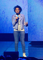 CHICAGO, IL: MAY 8: Alexandra Shipp speaks onstage during the 2019 WE DAY Illinois at the Allstate Arena on May 8, 2019 in Chicago, Illinois. <br /> CAP/MPI/ISDD<br /> ©MPIISDD/Capital Pictures
