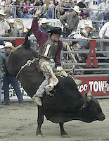 "29 August, 2004:  PRCA Rodeo Bull Rider Steven Turner riding the bull ""Forty Below"" during the PRCA 2004 Extreme Bulls competition in Bremerton, WA."