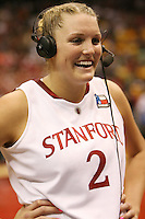SAN ANTONIO, TX - APRIL 4: Jayne Appel is interviewed after Stanford's 73-66 win over Oklahoma in the Final Four semi-finals at the Alamo Dome on April 4, 2010 in San Antonio, Texas.