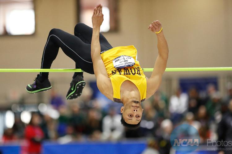 NAPERVILLE, IL - MARCH 11: Jeffrey Jon Tucker of Rowan University competes in the men's high jump at the  Division III Men's and Women's Indoor Track and Field Championship held at the Res/Rec Center on the North Central College campus on March 11, 2017 in Naperville, Illinois. (Photo by Steve Woltmann/NCAA Photos via Getty Images)