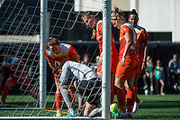 Seattle, Washington - Sunday, June 12, 2016: Houston Dash goalkeeper Lydia Williams (18) recovers from colliding with the goal post during a regular season National Women's Soccer League (NWSL) match at Memorial Stadium. Seattle won 1-0.