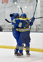 Delaware's Ethan Docking (32) and Ryan Burns (10) celebrate after Ryan Burns's third period goal. Delaware defeated Navy 8-3 at McMullen Hockey Arena.<br /> <br /> Photo by Randy Litzinger