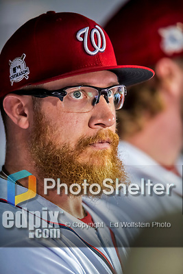 6 October 2017: Washington Nationals pitcher Sean Doolittle looks out from the dugout prior to the start of the first NLDS Game against the Chicago Cubs at Nationals Park in Washington, DC. The Cubs shut out the Nationals 3-0 to take a 1-0 lead in their best of five Postseason series. Mandatory Credit: Ed Wolfstein Photo *** RAW (NEF) Image File Available ***