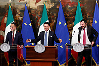 Luigi Di Maio, Giuseppe Conte and Matteo Salvini laughing<br /> Rome January 17th 2019. Press conference of  the Italian premier and of the two vice premiers just after the Minister cabinet approved the reform of job (citizenship income) and board.<br /> Foto Samantha Zucchi Insidefoto