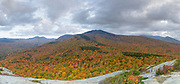 Panoramic of Mount Hale from Middle Sugarloaf Mountain in Bethlehem, New Hampshire USA during the autumn months. This image consists of four images stitched together