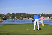 Jordan Spieth (USA) putts on the 7th green during Sunday's Final Round of the 2018 AT&amp;T Pebble Beach Pro-Am, held on Pebble Beach Golf Course, Monterey,  California, USA. 11th February 2018.<br /> Picture: Eoin Clarke | Golffile<br /> <br /> <br /> All photos usage must carry mandatory copyright credit (&copy; Golffile | Eoin Clarke)
