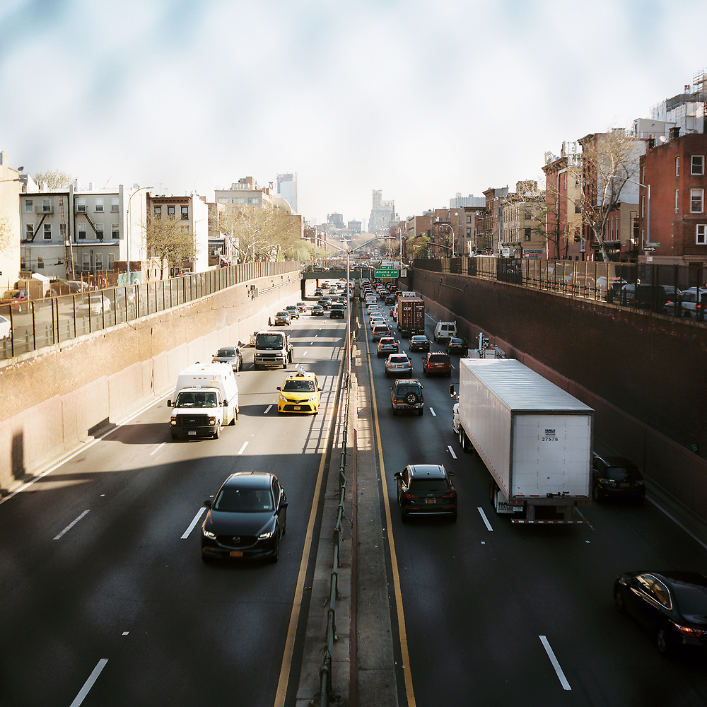 The Brooklyn-Queens Expressway (Interstate 278) separates the Columbia Street Waterfront District, left, from Carroll Gardens in Brooklyn, New York on Tuesday, May 1, 2018. (Photo by James Brosher)