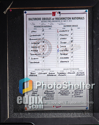 27 May 2013: The game Lineup Card is posted in the Washington Nationals dugout prior to a game against the Baltimore Orioles at Nationals Park in Washington, DC. The Orioles defeated the Nationals 6-2, taking the Memorial Day, first game of their interleague series. Mandatory Credit: Ed Wolfstein Photo *** RAW (NEF) Image File Available ***