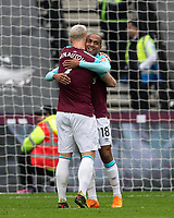 Marko Arnautovic of West Ham United celebrates his goal with Joao Mario of West Ham United during the EPL - Premier League match between West Ham United and Southampton at the Olympic Park, London, England on 31 March 2018. Photo by Andy Rowland.