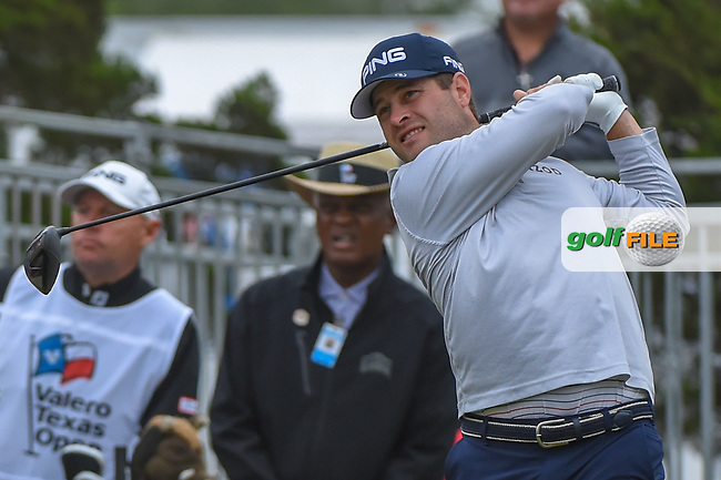 David Lingmerth (SWE) watches his tee shot on 10 during Round 3 of the Valero Texas Open, AT&T Oaks Course, TPC San Antonio, San Antonio, Texas, USA. 4/21/2018.<br /> Picture: Golffile   Ken Murray<br /> <br /> <br /> All photo usage must carry mandatory copyright credit (© Golffile   Ken Murray)