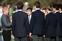 The PNBHS choir sings the national anthem during the international hockey match between the New Zealand Black Sticks and Malaysia at Fitzherbert Park, Palmerston North, New Zealand on Sunday, 9 August 2009. Photo: Dave Lintott / lintottphoto.co.nz