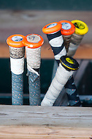 UCLA bat rack on June 24, 2013 at TD Ameritrade Park in Omaha, Nebraska. (Andrew Woolley/Four Seam Images)