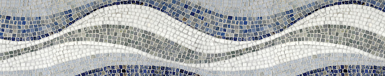 "8"" Mirage Mosaic Border shown in Kay's Green, Blue Macauba, Blue Bahia, and Thassos by New Ravenna."