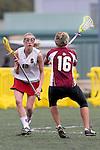 Santa Barbara, CA 02/19/11 - Annie Kutzscher (Stanford #12) and Rachel Baltes (Minnesota-Duluth #16) in action during the Stanford - Minnesota-Duluth game at the 2011 Santa Barbara Shootout.