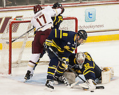 Destry Straight (BC - 17), (Mansfield), Brian Christie (Merrimack - 8), Rasmus Tirronen (Merrimack - 32) - The Boston College Eagles defeated the visiting Merrimack College Warriors 2-1 on Wednesday, January 21, 2015, at Kelley Rink in Conte Forum in Chestnut Hill, Massachusetts.