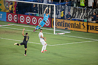 CARSON, CA - JULY 19: David Bingham #1 of the Los Angeles Galaxy reaches for a ball during a game between Los Angeles FC and Los Angeles Galaxy at Dignity Health Sports Park on July 19, 2019 in Carson, California.