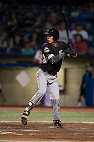 Salem-Keizer Volcanoes shortstop Jett Manning (10) at bat during a Northwest League game against the Hillsboro Hops at Ron Tonkin Field on September 1, 2018 in Hillsboro, Oregon. The Salem-Keizer Volcanoes defeated the Hillsboro Hops by a score of 3-1. (Zachary Lucy/Four Seam Images)