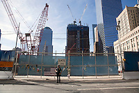 A memorial at Ground Zero on 11 September 2010 in New York City, New York on the 9th anniversary of the attacks on the World Trade Center and Pentagon.