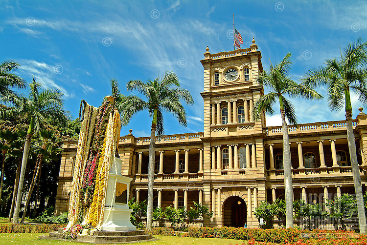 The lei-draped statue of King Kamehameha the Great stands outside Ali'iolani Hale, home of the Hawaii Supreme Court, in downtown Honolulu on O'ahu.